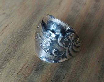 Upcycled Vintage Cherub - Spoon Ring - ladies jewellery - size R 1/2 (UK)