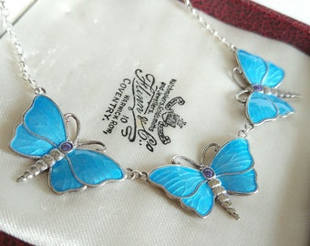 Beautiful Sterling Silver and Enamel - Handcrafted Turquoise Blue Triple Butterfly Necklace