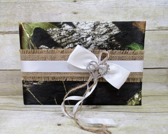 Mossy Oak Camo with White & Burlap Guestbook, Mossy Oak Breakup Camo Guestbook, Camo Wedding Guestbook, Camo and Burlap Wedding Accessories
