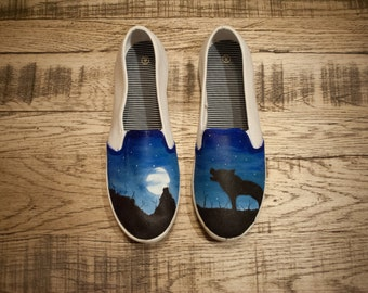 Custom Hand Painted Shoes - Full Moon and Wolf