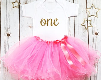 First Birthday Outfit Girl, 1st Birthday Outfit, Pink Tutu Outfit, One Bodysuit, Pink and Gold Baby Girl Outfit, Cake Smash Outfit, Glitter