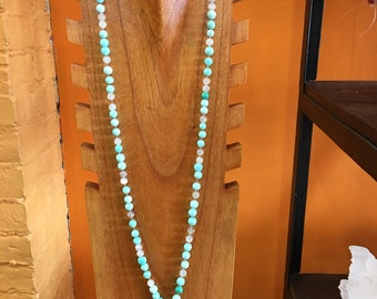 Peruvian Opal and Moonstone Knotted Mala AA gem quality