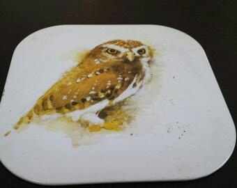 Well used, vintage metal with cork backing, owl trivet. Hot plate, vintage kitchen