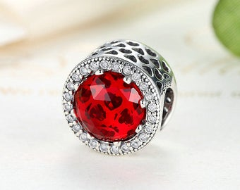 925 Silver Red Crystal Heart Circle Round Charm Bead Spacer Fit Pandora Charm Jewelry DIY Original Fits European Bracelet