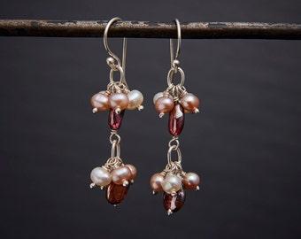 Garnet Earrings, Pearl Earrings, Cluster Drop Earrings, Garnet and Freshwater Pearl Cluster Drop Earrings