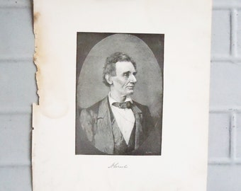 Vintage Book Illustration / Found with a collection of old books / Image of Abraham Lincoln