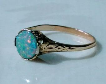 Art Nouveau Art Deco Beautiful 14k Yellow Gold Genuine Opal Ring~size 7