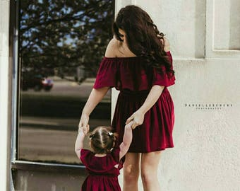 Women's (XS-XXXL) Off The Shoulder Ruffle Dress. Burgundy. Spring Summer. Mommy and Me Dress. Daughter