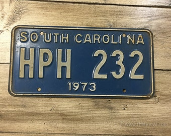 Vintage South Carolina License Plate 1973 | White Green Rusty | Man Cave Decor | Old Collectible | For Him | Garage