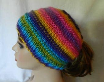 Adult Youth Child Knitted Multi Colored Ponytail Messy Bun Hat  V5618