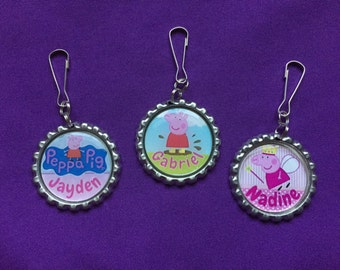 12 Personalized Peppa Pig Zipper Pulls, Party Favors