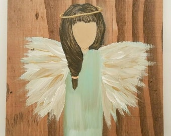 LIMITED TIME pricing! Earth Angel my Guardian Dear, hand painted Angels, Personalised Guardian Angel, Memorial black hair,turquoise