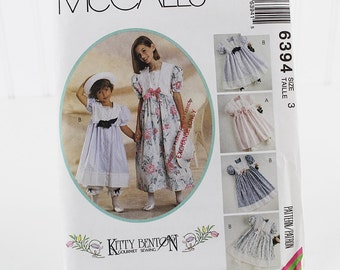 Girls Sailor Collar Dress and Pantaloons Pattern, Uncut Sewing Pattern, MCalls 6394, Size 3
