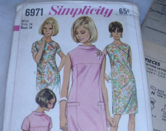 Vintage Simplicity 6971 / Size 14 / Bust 34 / Misses One Piece Dress / Stand-away and Surplice Neckline / Uncut FF Pattern