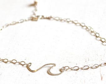 Wave Anklet in Sterling or Gold, Ocean Wave Anklet