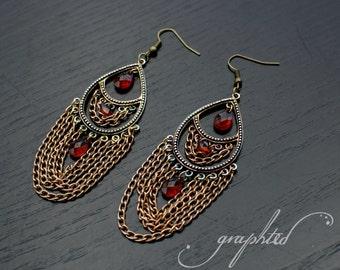Bronze Teardrop Chandelier Earrings - Dangle Earrings - Chandelier Earrings - Women's Earrings - Chain Earrings