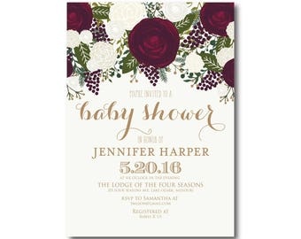 Vintage Baby Shower Invitation, Fall Baby Shower Invitation, Girl Baby Shower Invitation, Vintage Floral, Floral Baby Shower #CL158