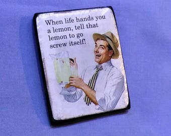 When Life Gives You Lemons... Humorous Refrigerator Magnet, Hand-Made home decor. Funny Conversation piece.