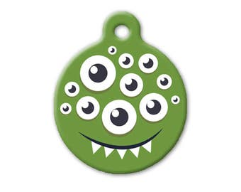 Monster! (green multiple eyes) - dog, cat, pet ID TAG