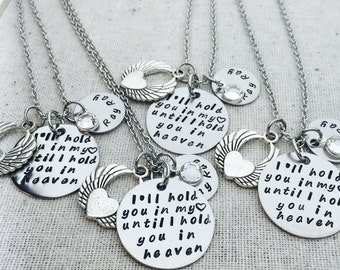 Personalized I'll Hold You In My Heart Until I Hold You In Heaven Necklace- Memorial Necklace- Hand Stamped- Remembrance