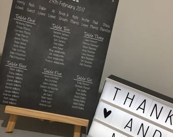 Custom Designed Wedding Table Plan. Fully Personalised to fit your theme, Available in A3,A2 & A1 Size