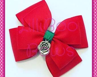 Handmade Enchanted Rose Beauty and the Beast Inspired Hair Bow
