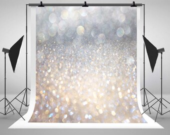 Kate Silver Bokeh Glitter Photography Backdrops Art Fabric Photo Backgrounds for Valentine's day studio Props J03425