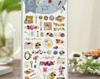 Antique floral Sticker | Sonia Design Stickers, Korean Cute Stickers, Unique Craft Supplies and Card Making Materials (2029)