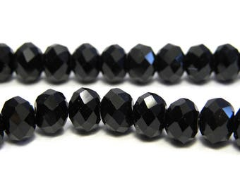 Faceted Glass Briolette Beads, Glass Rondelle Beads 8mm - Black