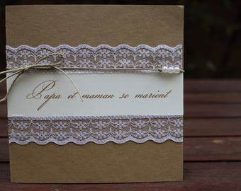 Invitation lace and kraft 3 range: country chic wedding |