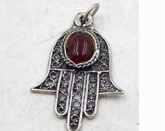 Antique - Sterling Silver - Garnet Stone - Hamsa Charm - Pendant -  Stamped .925