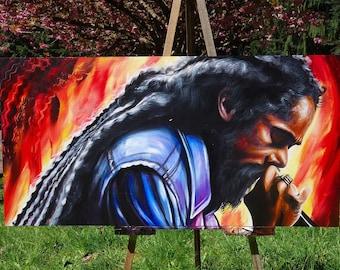 Damian Marley - Jr. Gong . Canvas Print - 2017