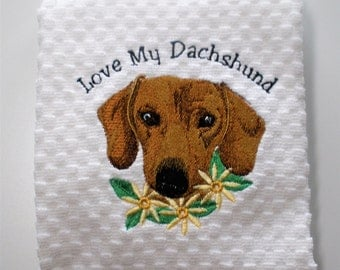 "Dachshund Towel, Dachshund Gift, Dachshund Dish Towel, Dachshund Decor, Dachshund Lover Gift, Dachshund Kitchen, Hostess Gift ""Adorable"""