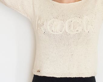 Hand knitted spring and summer sweater, cotton boho knitwear large boat neckline, choose color and word, mod. CILIEGIO