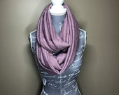 Purple Thick Knit Paisley Adult Infinity Scarf  Circle Scarf.