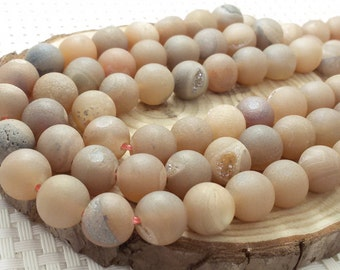 8 mm 10 mm   Druzy Agate Round Beads ,Druzy Round Beads , Natural Stone Beads , Semi Precious Stone Beads