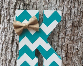 "9"" Hand Cut Chevron Letter, Distressed Wooden Letter, Free Standing/Hanging Letter"