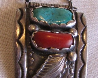 Mike Simplicio Sterling Silver, Coral and Turquoise Necklace
