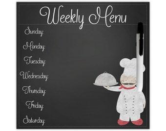 Chef dry erase menu board, weekly menu board, dinner menu board, faux chalkboard menu, fat chef decor, comes with magnet and velcro strip