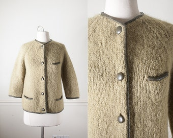50s Italian Mohair Sweater with Leather Trim, Olive Green Cardigan Sweater, 50s Sweater, Olive Green Sweater, 50s Clothing, Retro Clothing