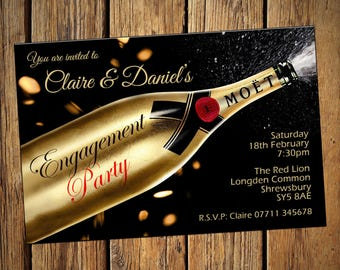 Engagement Party Invitations Champagne Gold