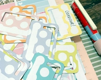 Tuck Tabs - Planner Tabs - Removable Planner Tabs. Set of 18. Polka Dot Pastels