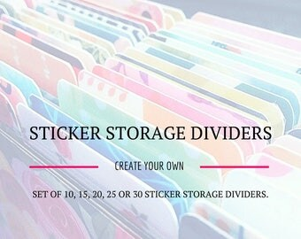 A5 Sticker Storage Dividers. Create Your Own. Set of 10, 15, 20, 25 or 30 in your choice of patterns from across my shop
