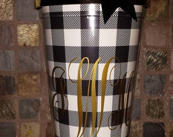 Monogrammed Double Walled Straw Tumbler with Black and White plaid pattern