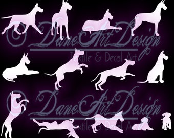 Great Dane Gallery of Decals - Assortment of 13 Poses