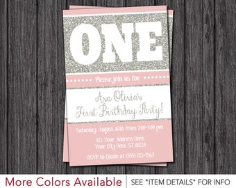 First Birthday Invitation - Pink and Silver 1st Birthday Invitations