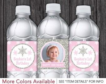 Winter Onederland Water Bottle Labels • Winter Wonderland, Snowflake Birthday Party • Any Age • Printable DIY Digital File