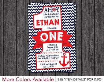 nautical first birthday  etsy, Birthday invitations