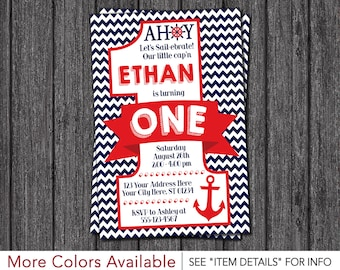 Nautical First Birthday Invitation - Nautical 1st Birthday Invitations - Anchor, Sailor, Navy and Red