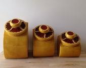 ON SALE California Potteries Mustard Yellow & Red Kitchen Ceramic 3 Size Cansister Set 1960's Sugar Tea Kitchen Counter Decor Rare